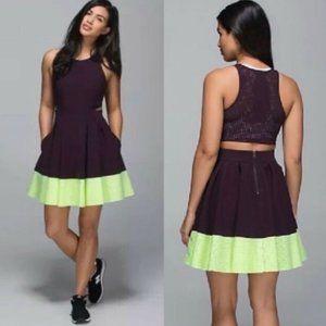 NWOT Lululemon Away Dress Black Cherry Lime Sz 4